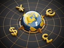 Dollar, Euro, Yen and Pound symbols around the globe Royalty Free Stock Photo