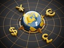 Dollar, Euro, Yen and Pound symbols around the globe Royalty Free Stock Photo