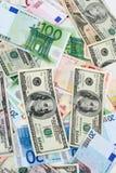 dollar euros Royaltyfri Foto