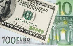 dollar euros Royaltyfri Bild