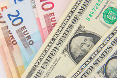 Dollar and Euros Stock Photography