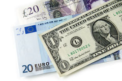 Dollar Euros And Pounds Royalty Free Stock Images