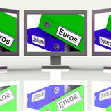 Dollar And Euros Folders Screen Show Global Currency Exchange Royalty Free Stock Photography
