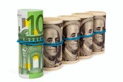 dollar euros fyra rullar för en rulle Royaltyfri Foto