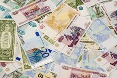 Dollar euros, rubles Royaltyfri Fotografi