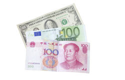 Dollar, Euros and Yuan bills royalty free stock images