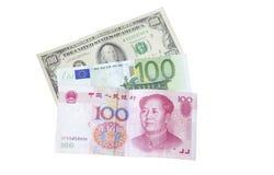 Dollar, Euros and Yuan bills Royalty Free Stock Images