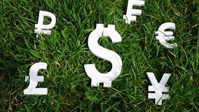 Dollar exchange currency on a grass background Stock Images
