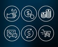 Dollar exchange, Discounts and Rubber gloves icons. Currency, Buy currency and Shopping cart signs. Stock Photos