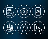Dollar exchange, Dollar target and Checked calculation icons. Set of Dollar exchange, Dollar target and Checked calculation icons. Smartphone statistics, Salary Stock Images