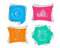 Dollar exchange, Exchange currency and Banking money icons. Tea sign. Banking rates, Cash finance, Glass mug. Set of Dollar exchange, Exchange currency and Stock Image
