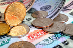 Dollar exchange rate against the ruble concept. US dollar exchange rate to Russian ruble Royalty Free Stock Images