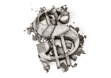 Dollar exchange rate down. 3D rendering of destroyed stone dollar symbol on a white background. Royalty Free Stock Photos