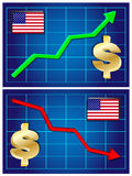 Dollar, exchange rate growing and falling Royalty Free Stock Photos