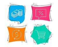 Dollar exchange, Savings and Discount message icons. Market sale sign. Set of Dollar exchange, Savings and Discount message icons. Market sale sign. Banking Stock Photo