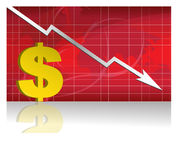 Dollar Exchange / Vector. Business worries with dollar losing graph. vector file available Royalty Free Stock Image
