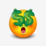 Dollar eyes emoticon, emoji, smiley - vector illustration Stock Images
