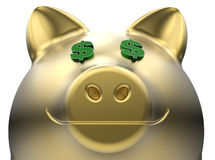 Dollar eyes piggy bank Royalty Free Stock Images