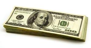 dollar för 100 bills Arkivbild