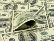 dollar för 100 sedlar mycket Fotografering för Bildbyråer