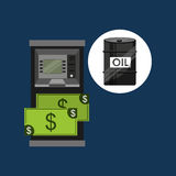 Dollar för olja- och oljabranschbankomat vektor illustrationer
