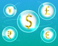 Dollar för valutasymbol, euro, indisk rupie, brittiskt pund, kines Y royaltyfri illustrationer