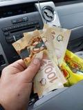 dollar f?r 100 bills royaltyfri foto