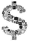 Dollar fait à partir des icônes de finances Photos libres de droits