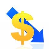 Dollar fall. Dollar symbol with blue descending arrow vector illustration