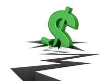 Dollar falling. The dollar falling in a crack stock illustration