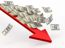 Dollar falling  along  arrow down. Finance conceptual illustration Stock Image