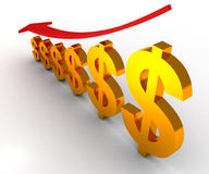Dollar falling down business graph. 3d Stock Photo