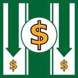 Dollar falling financial concept. Vector illustration Royalty Free Stock Photos