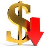 Dollar falls. Arrow Stock Images
