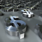 Dollar Field. 3d image of a lot of  metal brushed dollar symbols with defocus effect Stock Photography
