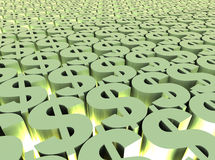 Dollar field. Dollar signs field to the horizon with bright light Royalty Free Stock Images