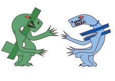Dollar fights euro. An illustration of the Euro and the Dollar symbol as monsters, fighting each other Royalty Free Stock Image