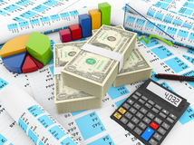 Dollar finances. Concept: dollars, calculator and charts render Royalty Free Stock Photo