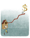 Dollar on financial growth chart. Financial growth chart cuckoo clock dollar Royalty Free Stock Photo