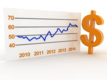 Dollar financial success bar chart graph growing  arrow Royalty Free Stock Photo