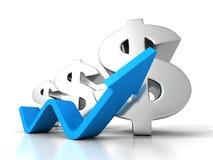 Dollar Financial Success Bar Chart Graph Growing Up Arrow Stock Images