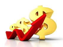 Dollar Financial Success Bar Chart Graph Growing Up Arrow Royalty Free Stock Image