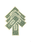 Dollar fir-tree. Dollar banknotes arranged in a shape of fir-tree as symbol of evergreen currency - on white background Stock Images