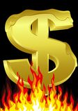 Dollar on fire Royalty Free Stock Image