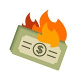 Dollar on Fire. Money, dollar, fire icon vector image. Can also be used for currency. Suitable for web apps, mobile apps and print media Stock Images