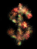 Dollar fireworks. Dollar sign made of fireworks on black background Royalty Free Stock Photography