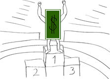 Dollar in the first place. The dollar took the first place on the podium Stock Photos