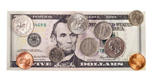 American five dollar, cents Royalty Free Stock Photos