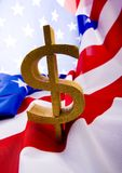 Dollar on the flag Stock Image