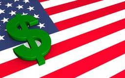 Dollar and flag stock photo
